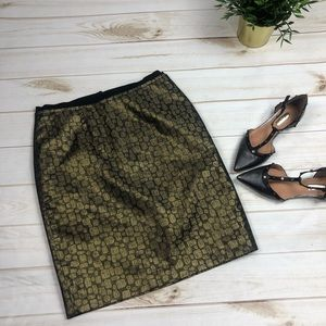 Dresses & Skirts - Ann Taylor LOFT Gold Black Shimmer Brocade Skirt 2